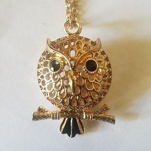 LC Lauren Conrad Gold Tone Open Work Owl Necklace